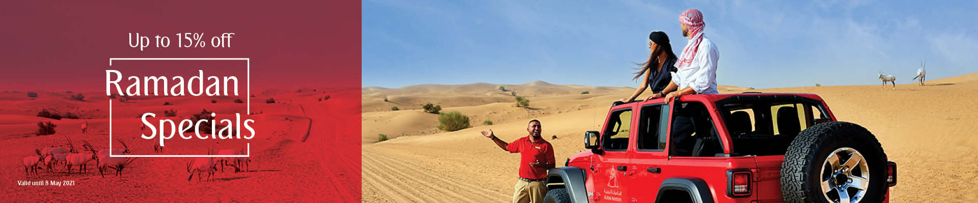 Book now and enjoy 15% off on desert safaris