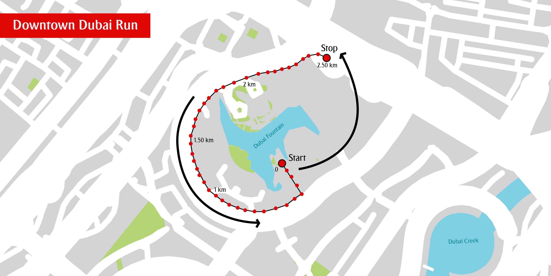 Map of Downtown Dubai Run